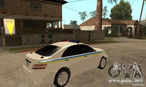 Toyota Camry 2010 SE Police UKR para la visión correcta GTA San Andreas