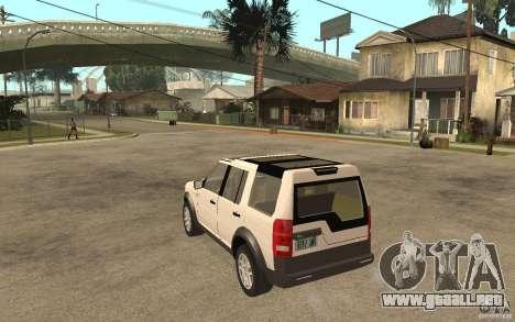 Land Rover Discovery 3 V8 para GTA San Andreas vista posterior izquierda