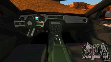 Ford Mustang Boss 302 2013 para GTA 4 vista hacia atrás