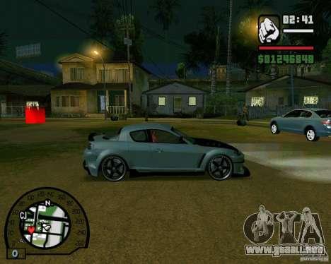 Mazda RX8 JDM Style para GTA San Andreas vista posterior izquierda