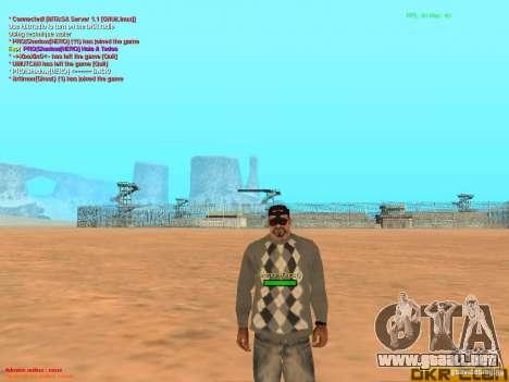 NV Goggles para GTA San Andreas sucesivamente de pantalla
