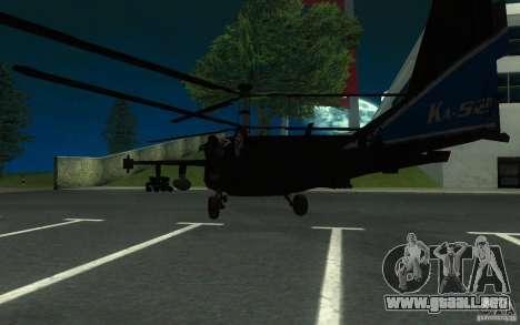 KA-52 ALLIGATOR v1.0 para GTA San Andreas vista posterior izquierda