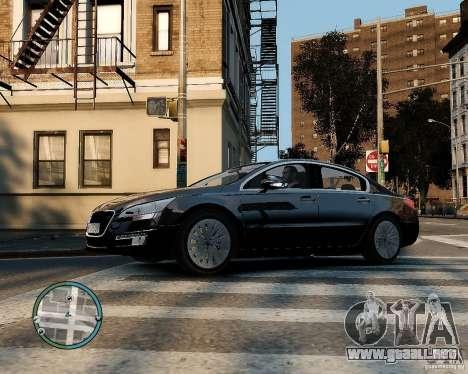 Pegeout 508 v2.0 para GTA 4 vista hacia atrás