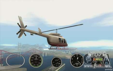 Instrumentos de aire en un avión para GTA San Andreas sucesivamente de pantalla