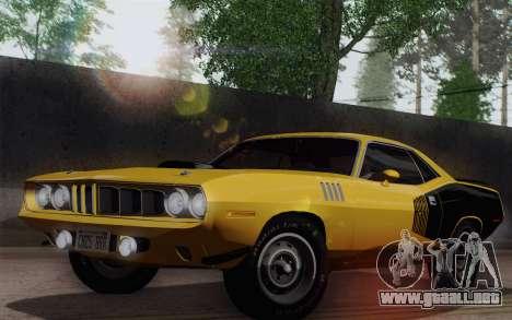 Plymouth Hemi Cuda 426 1971 para GTA San Andreas vista posterior izquierda
