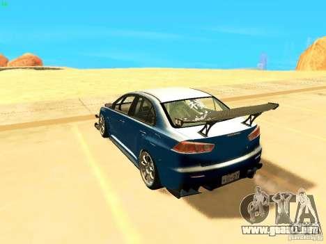 Mitsubishi Lancer Evolution X Time Attack para GTA San Andreas left