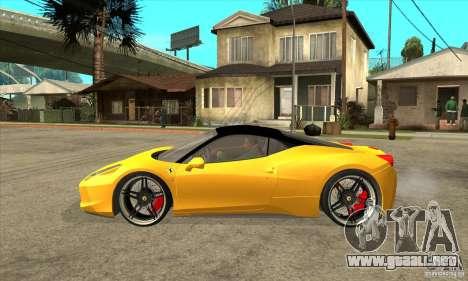 Ferrari 458 Italia custom para GTA San Andreas left