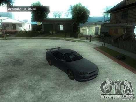 Nissan Skyline GT-R34 V-Spec para GTA San Andreas vista posterior izquierda