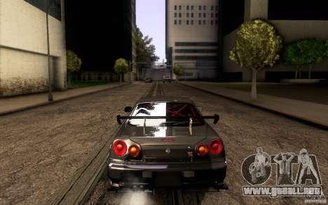Nissan Skyline GT-R34 para vista inferior GTA San Andreas