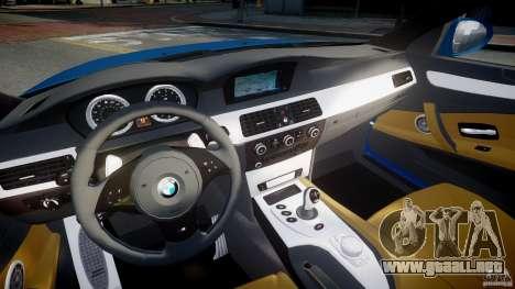 BMW M5 E60 2009 para GTA 4 vista hacia atrás