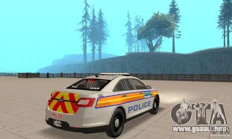 Ford Taurus 2011 Metropolitan Police Car para GTA San Andreas left