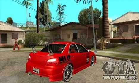 Subaru Impreza 2005 Tuned para la visión correcta GTA San Andreas