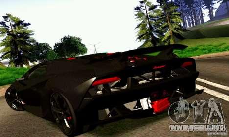 Lamborghini Sesto Elemento para GTA San Andreas vista posterior izquierda