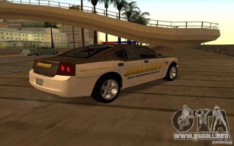 County Sheriffs Dept Dodge Charger para GTA San Andreas vista posterior izquierda