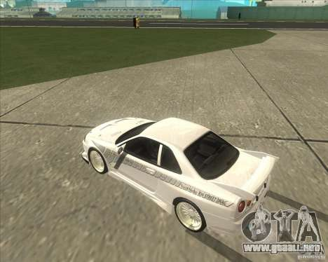 Nissan Skyline R34 Veilside street drag para la visión correcta GTA San Andreas