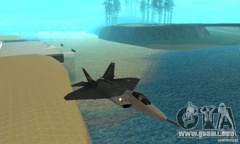 YF-22 Standart para GTA San Andreas vista hacia atrás