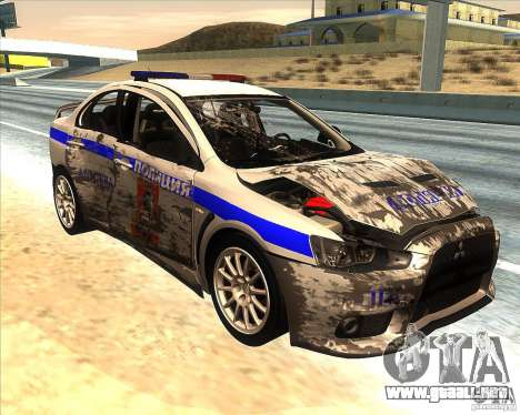 Mitsubishi Lancer Evolution X PPP policía para vista inferior GTA San Andreas