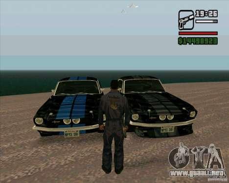 Shelby Mustang GT500 1967 para GTA San Andreas vista posterior izquierda