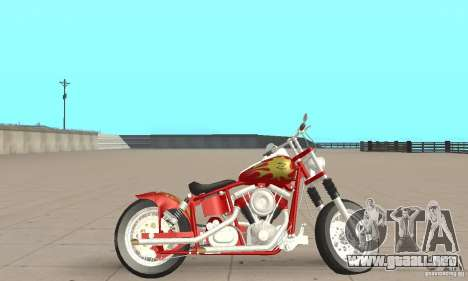 Orange County old school chopper Sunshine para GTA San Andreas vista posterior izquierda