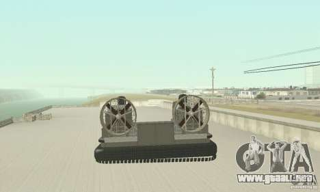 Landing Craft Air Cushion para GTA San Andreas vista posterior izquierda