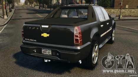 Chevrolet Avalanche Stock [Beta] para GTA 4 Vista posterior izquierda