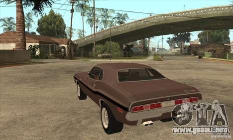 Dodge Challenger R/T Hemi 426 para GTA San Andreas vista posterior izquierda
