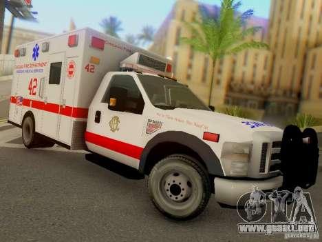Ford F350 Super Duty Chicago Fire Department EMS para GTA San Andreas vista hacia atrás