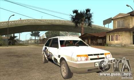 VAZ 2108 sintonizado para GTA San Andreas vista hacia atrás