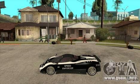 Pagani Zonda F Speed Enforcer BETA para GTA San Andreas vista posterior izquierda