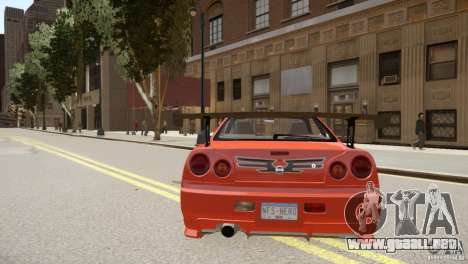 Nissan Skyline GT-R R34 Underground Style para GTA 4 visión correcta