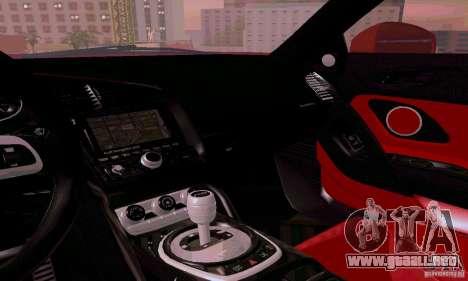 Audi R8 V10 Spyder 5.2. FSI para la vista superior GTA San Andreas
