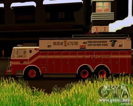 Pumper Firetruck Pierce F.D.N.Y para la visión correcta GTA San Andreas
