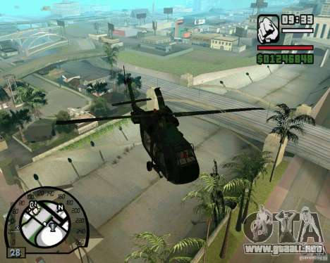 Blackhawk UH60 Heli para la visión correcta GTA San Andreas