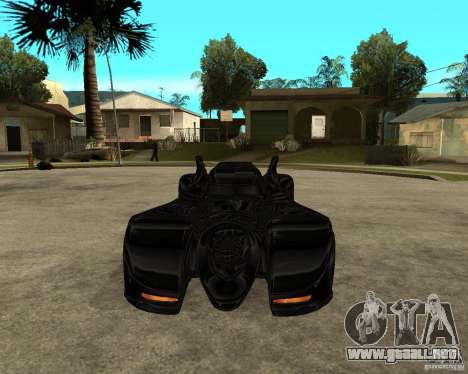 Batmobile para GTA San Andreas vista hacia atrás