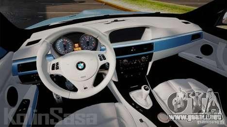 BMW E92 M3 Threep Edition para GTA 4 vista hacia atrás