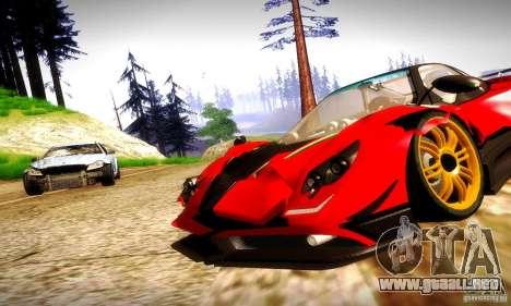 Pagani Zonda Tricolore V2 para GTA San Andreas vista hacia atrás
