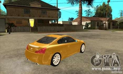 Infiniti G37 Coupe Sport para visión interna GTA San Andreas
