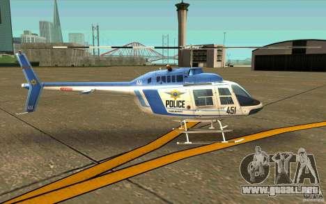Bell 206 B Police texture1 para GTA San Andreas vista posterior izquierda