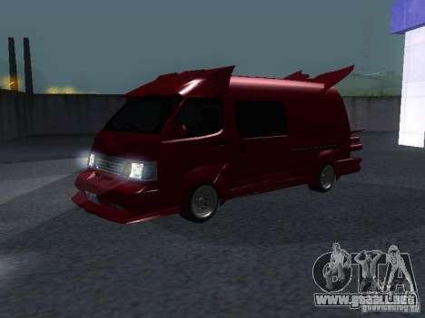 Toyota Hiace Vanning para GTA San Andreas left
