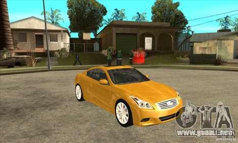Infiniti G37 Coupe Sport para la vista superior GTA San Andreas