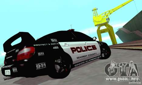 Subaru Impreza WRX STI Police Speed Enforcement para visión interna GTA San Andreas