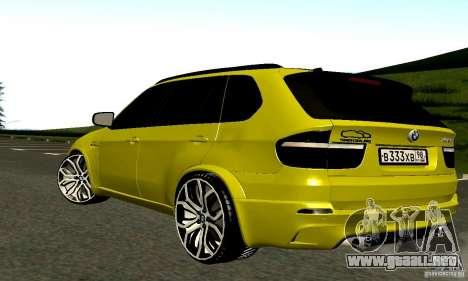 BMW X5M oro para la visión correcta GTA San Andreas