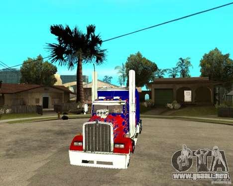 Truck Optimus Prime para GTA San Andreas vista hacia atrás
