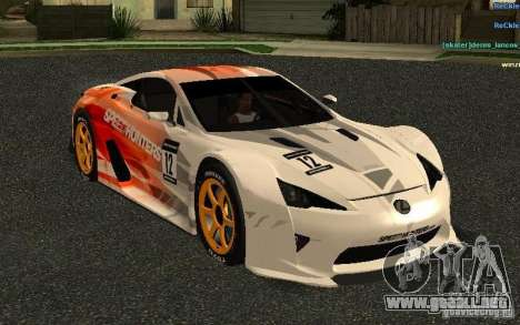 Lexus LFA Speedhunters Edition para visión interna GTA San Andreas