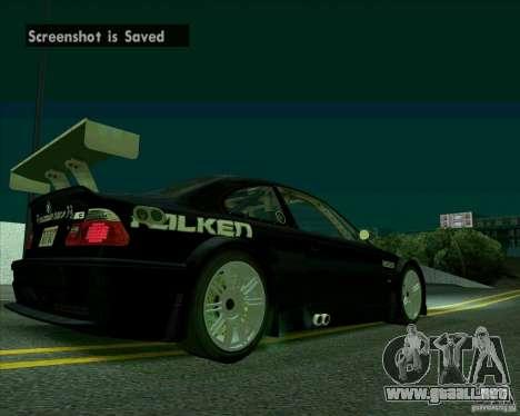 BMW M3 GTR Final para la visión correcta GTA San Andreas