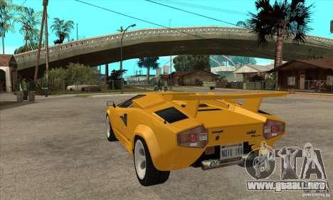 Lamborghini Countach para GTA San Andreas vista posterior izquierda