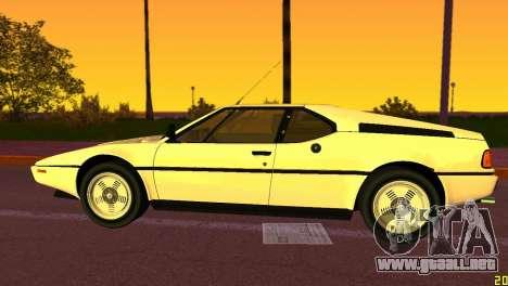 BMW M1 (E26) 1979 para GTA Vice City vista lateral izquierdo