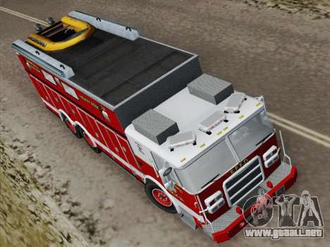 Pierce Walk-in SFFD Heavy Rescue para GTA San Andreas vista hacia atrás
