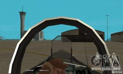 Su-37 Terminator para GTA San Andreas vista hacia atrás