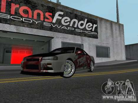 Nissan Skyline R 34 para GTA San Andreas left